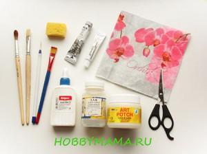 Инструменты и материалы для декупажа чайного домика