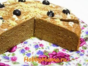 Печеночный торт с блинами
