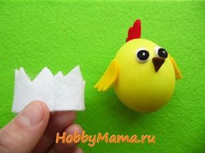 Цыпленок из яйца и фетра