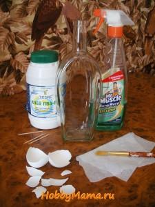 Декор бутылки яичной скорлупой
