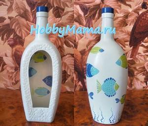 Прямой и обратный декупаж бутылки Мастер-класс с фото