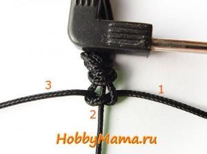 Плоский узел макраме для плетения браслета Шамбала