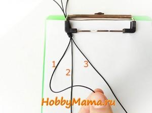 Цепочка из квадратных узлов для браслета Шамбала