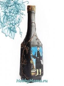 Мастер-класс по декупажу и пейп-арту бутылки Муза Пиросмани