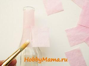 Подготовка поверхности бутылки к пейп-арту