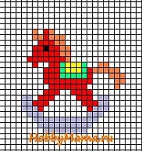 Схема вышивки крестом Лошадка-качалка