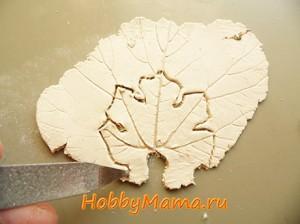 Виноградный лист из керапласта для пейп-арта