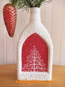 Новогодний декупаж Ваза из бутылки
