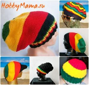Ямайская шапка вязаная спицами Фото