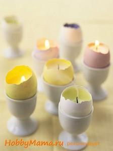 Пасхальная свеча в яичной скорлупе