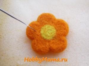 Цветок из шерсти Сухое валяние