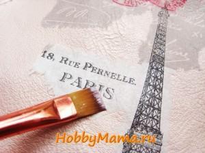 Декупаж Париж на сумке