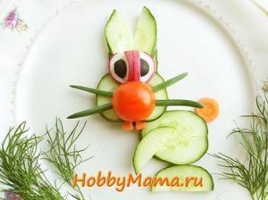 Украшение из овощей для детского стола «Зайчик»