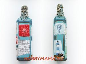 Подсвечник из бутылки. Декупаж
