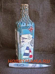 Подсвечник из стеклянной бутылки и декупаж свечи