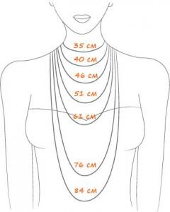 Схема длины ожерелья, колье, бус
