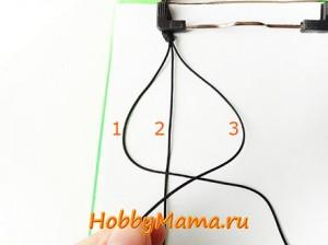 Плетение квадратного узла для браслета Шамбала
