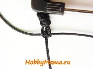 Плоский квадратный узел для плетения браслета Шамбала