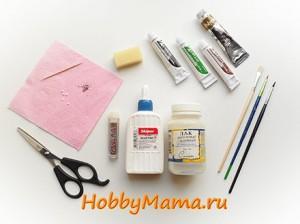Инструменты и материалы для пейп-арта пуговицы