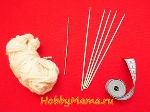 Инструменты и материалы для вязания следков спицами