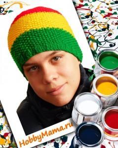 Вязание спицами Ямайская шапка для мальчика-подростка