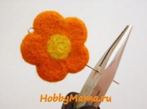 Бусина-цветок из шерсти Сухое валяние для начинающих