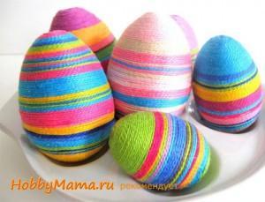 Декор пасхальных яиц пряжей