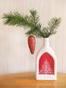 Новогодний и рождественский декупаж: ваза из стеклянной бутылки